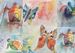 Wasserschildkröten und Schmetterlinge in Aquarell Thema Farben mischen mir Grundfarben